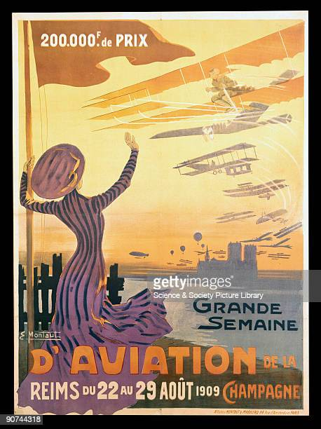 Coloured lithograph poster by Ernest Montaut advertising the world's first true aviation meeting held on the plain of Betheny north of Reims from...