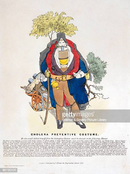 Coloured lithograph published by T McClean during a cholera epidemic and showing a man wearing a bulky costume made of useless preventatives...