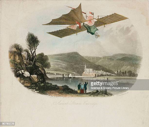 Coloured lithograph showing a flying machine in flight over a lake William Henson patented his design for an Aerial Steam Carriage which he...
