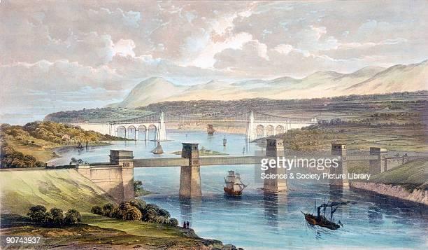 Coloured lithograph showing the Britannia Tubular Bridge with the Menai Suspension Bridge a road bridge of 1826 in the background The Britannia...