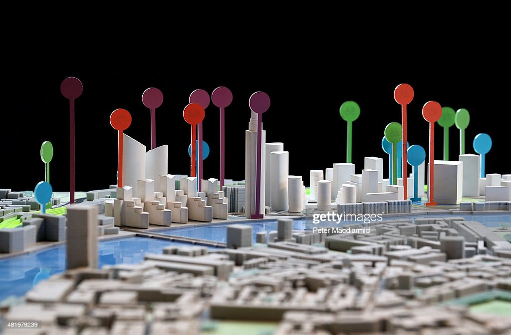 Coloured markers showing the position and height of the proposed development of London's skyline are displayed at the 'Growing Up!' exhibition on April 2, 2014 in London, England. Over 230 new towers are planned in the capital.