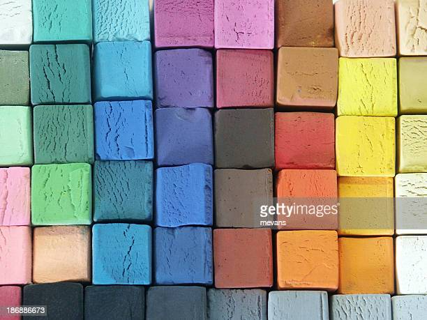 coloured pastels - art and craft equipment stock pictures, royalty-free photos & images