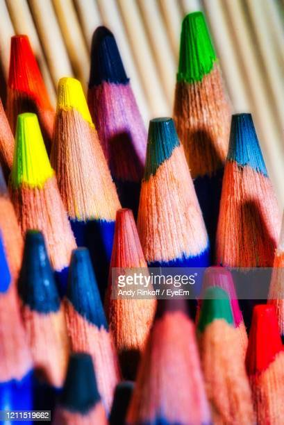 coloured pencil tops - andy rinkoff stock pictures, royalty-free photos & images