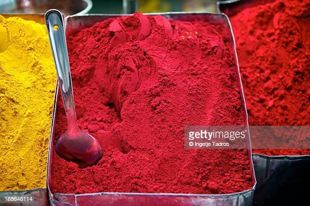 Coloured powder on display