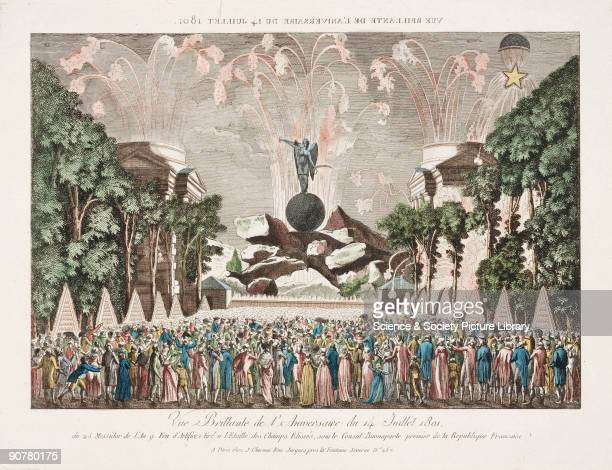 Coloured print by J Chereau showing the festivities including fireworks and a balloon ascent at the Champs Elysees in Paris France on 14 July 1801...