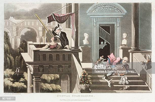 Coloured print by Thomas Rowlandson produced by the English publisher Rudolph Ackermann of the Strand London The aquatint is titled 'Syntax...