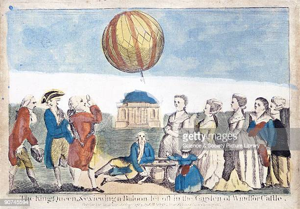 Coloured print published in 1874 illustrating the first balloon experiments undertaken in England King George III Queen Charlotte and company are...
