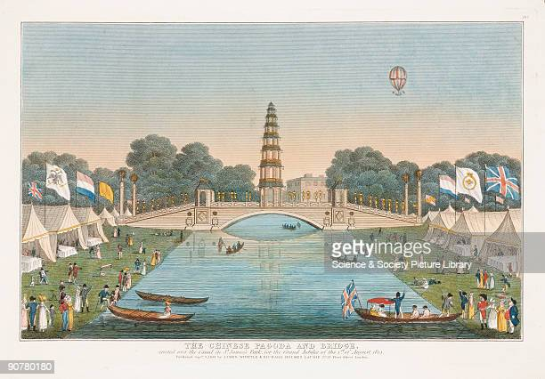 Coloured print showing the Chinese pagoda and bridge created over the canal at St James� Park in honour of the the Grand Jubilee celebrations The...