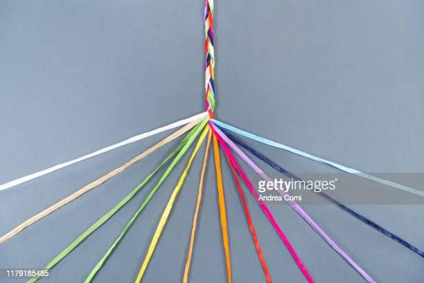 coloured ropes knotting together - unione foto e immagini stock