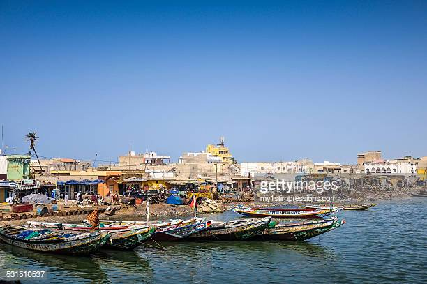Coloured rowing boats in Senegal