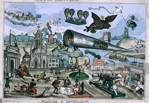Coloured satirical print by Paul Pry on the fad for steam transport The world of invention goes mad here are fantastic balloons flying machines...