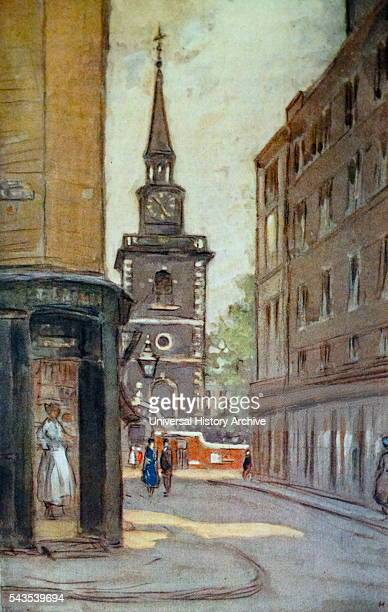 Coloured sketch of St James's Church, Piccadilly, an Anglican church on Piccadilly in the centre of London, UK. Built by Sir Christopher Wren. Dated...