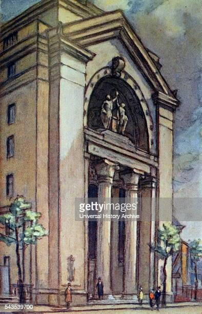 Coloured sketch of the Portico of Bush House London It now serves as part of the Strand Campus of King's College London Dated 20th Century