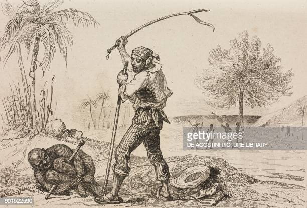 Coloured slaves being whipped Brazil engraving by Debret from Bresil by Ferdinand Denis Colombie et Guyanes by Famin L'Univers Pittoresque published...