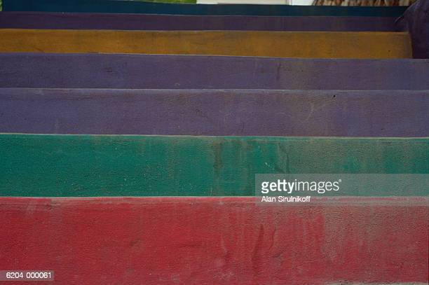 coloured stairway - sirulnikoff stock pictures, royalty-free photos & images