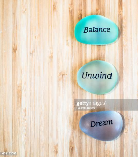 Coloured stones with words