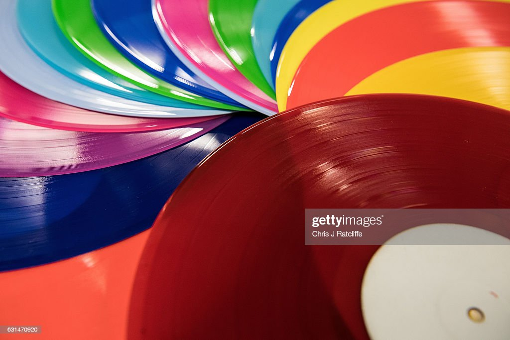 Coloured vinyl records are fanned out at The Vinyl Factory on January 11, 2017 in Hayes, England. The Vinyl Factory is the largest vinyl pressing plant in the United Kingdom and produces up to 1.4 million records a year. The factory was founded in 2001 and has seen a 20% increase in sales and production year on year with clients including Warner Music, Universal Music, Bjork's label and their own label. Sales of vinyl records reached a 25 year high in 2016 when more than 3.2 million LPs were sold, a rise of 53% on the previous year.