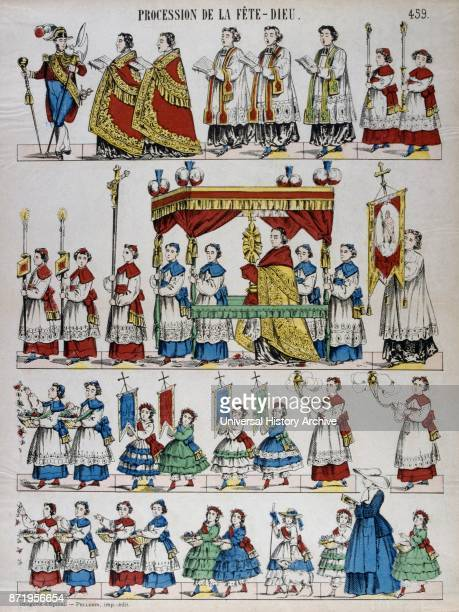 Coloured woodblock illustration showing a Catholic religious procession with priests children and incense French circa 1850