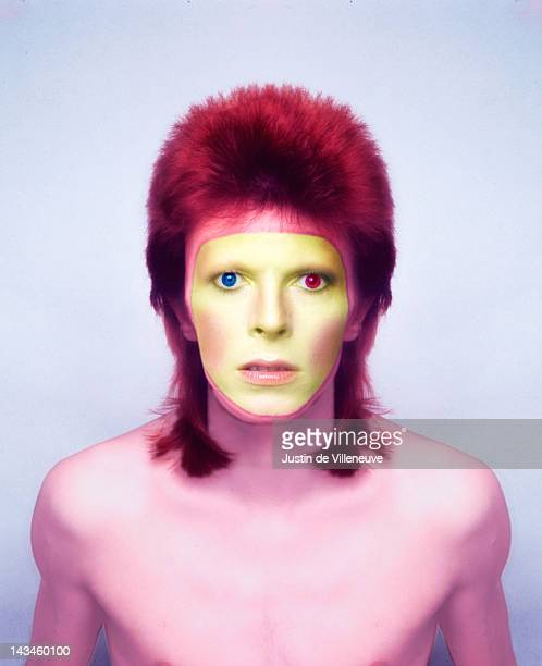 A colourenhanced image of English singer and musician David Bowie exaggerating his heterochromia iridis 1973 This photo was taken in Paris during a...