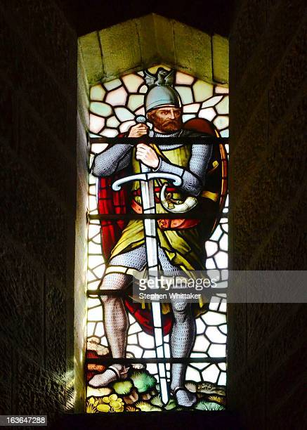CONTENT] Coloures stained glass window at Sterling castle Scotland of Braveheart William Wallace holding his shield and sword
