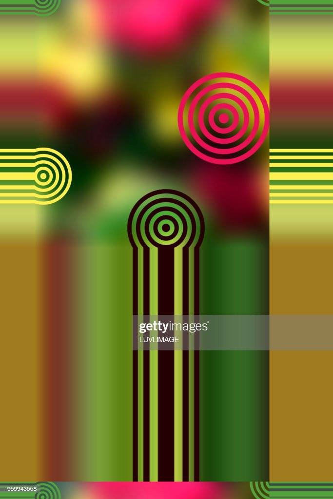 Colourful Abstract With Stripes And Circles. : Stock-Foto