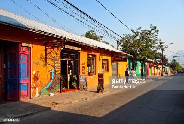 colourful adobe buildings, san jose de maipo - santiago chile stock pictures, royalty-free photos & images