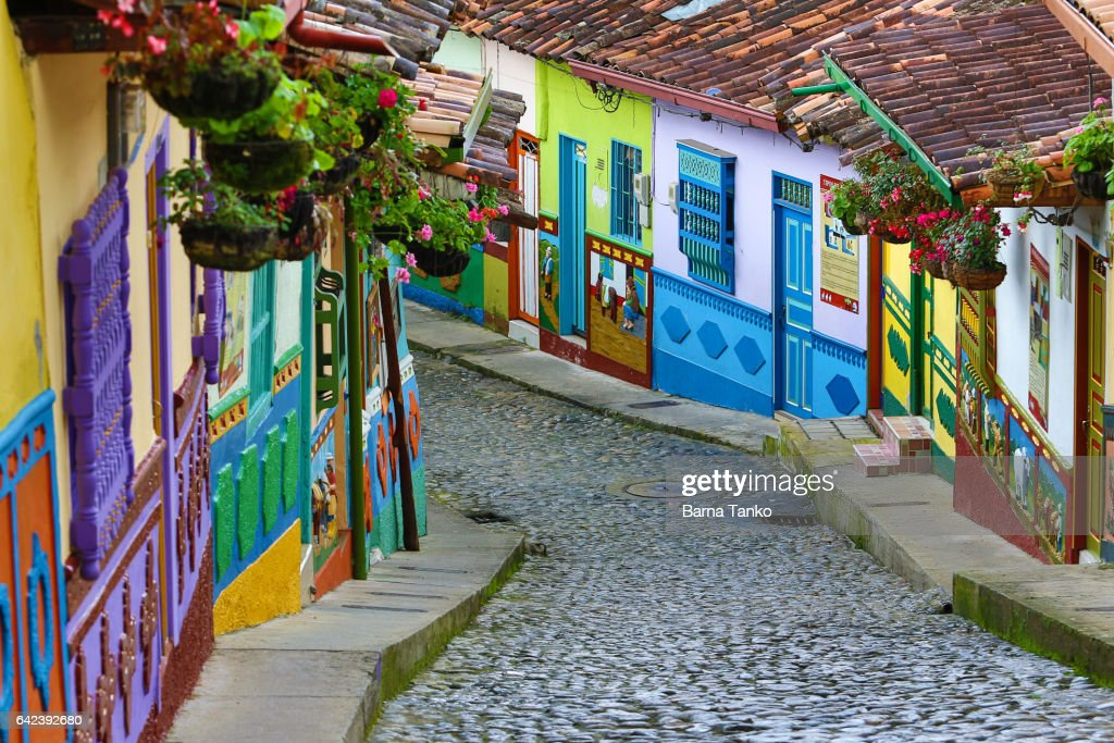 colourful architecture in Guatape : Stock Photo