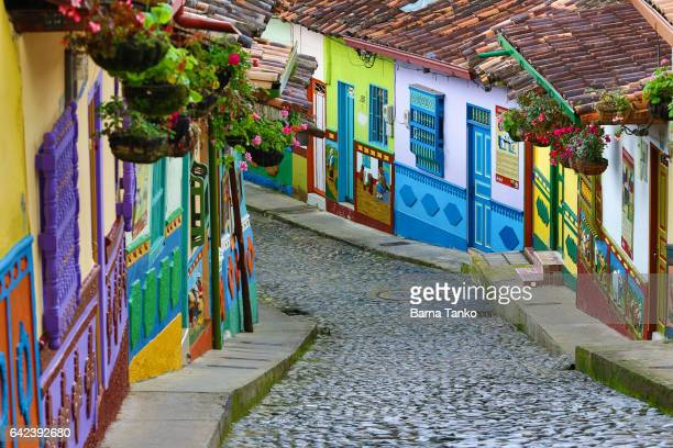 colourful architecture in guatape - guatapé stock pictures, royalty-free photos & images