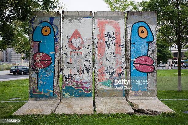 Colourful artwork from an old piece of the Berlin Wall, Berlin, Germany
