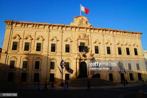 Colourful Auberge de Castille Building, Dusk, Valletta, Malta