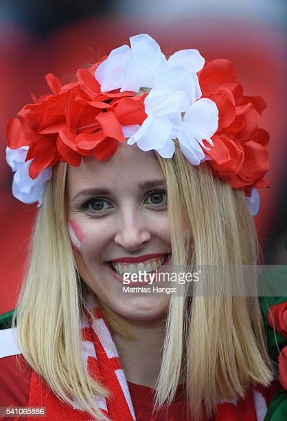 A colourful Austria fan looks on prior to the UEFA EURO 2016 Group F match between Portugal and Austria at Parc des Princes on June 18 2016 in Paris...