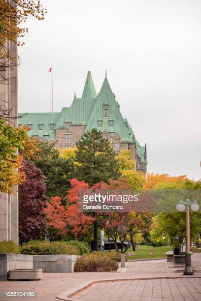 Colourful autumn leaves in front of the Parliament Buildings in Ottawa