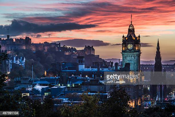 Colourful autumn sunset over Edinburgh, Scotland