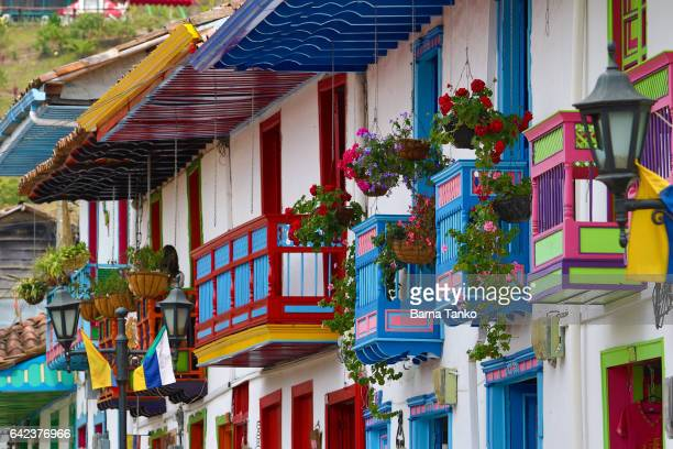 colourful balconies in colombia - colombia stock pictures, royalty-free photos & images