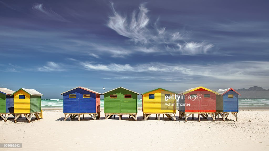 Colourful Beach Houses, Muizenberg, South Africa : Stockfoto
