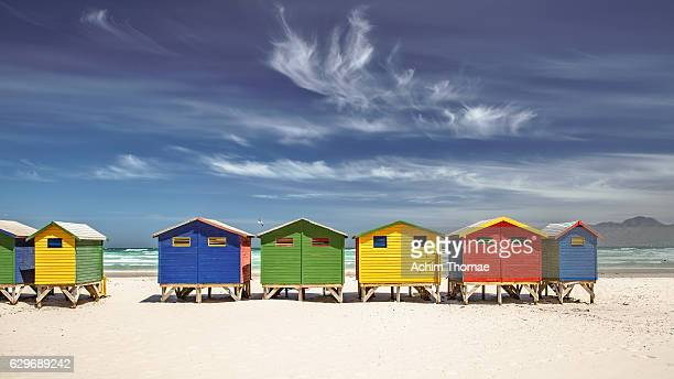 colourful beach houses, muizenberg, south africa - south africa stock pictures, royalty-free photos & images