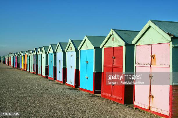 Colourful beach huts in Sussex