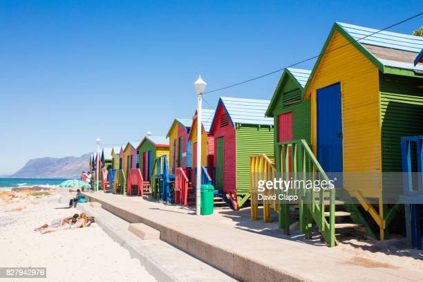 Colourful beach huts on the sands of St James, South Africa