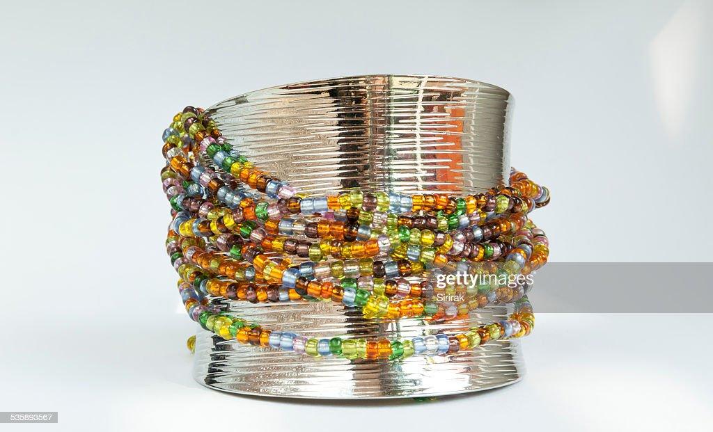 Colourful beads bracelet : Stock Photo