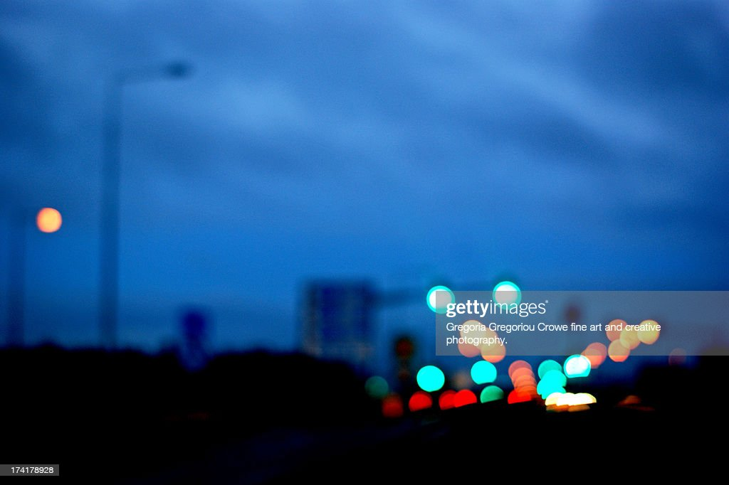 Colourful blurred traffic lights : Stock Photo