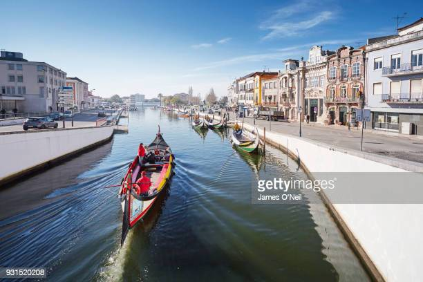 colourful boat (barcos moliceiros) on canal in aveiro, portugal - アヴェイロ県 ストックフォトと画像
