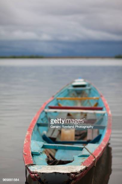 A colourful boat waits on the River in Senegal