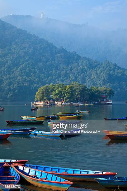 Colourful boats in Lake Phewa