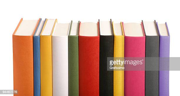 Colourful books in a row