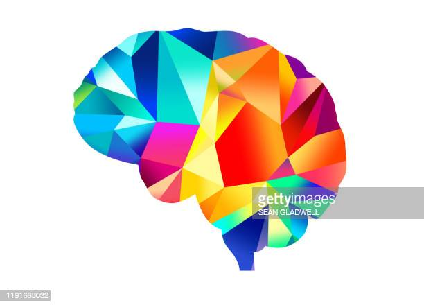 colourful brain illustration - multimedia stock pictures, royalty-free photos & images