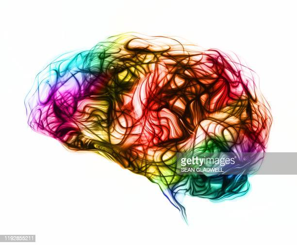 colourful brain waves - cerebrum stock pictures, royalty-free photos & images