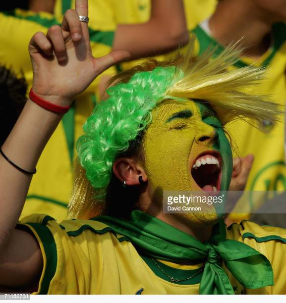 Colourful Brazil supporter during the international friendly match between Brazil and New Zealand at the Stadium de Geneva on June 4, 2006 in Geneva...