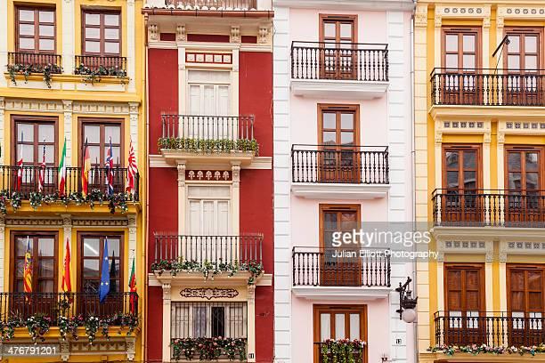 Colourful building facades in Valencia.