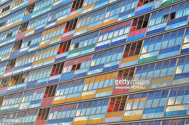 Colourful building glazed facade at sunset