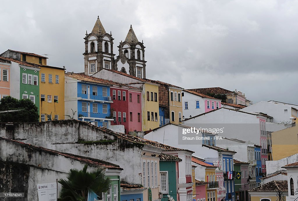 Colourful buildings in the Pelourinho area on June 21, 2013 in Salvador, Brazil.